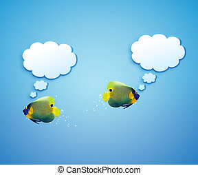 angelfish with speech bubbles.