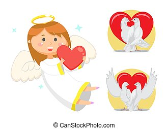 Angelic Child, Cupid Girl with Wings and Nimbus