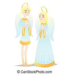 Angelic couple. Cute young boy and girl in style of Angels praying. Vector