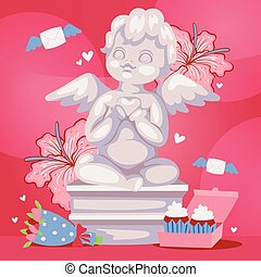 Angelic cupid sculpture background vector illustration. Romantic angel statue with flowers. Valentines or wedding day background banner, poster.