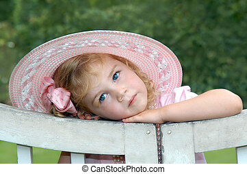 Angelic Expression - Adorable in a pink hat, little girl ...