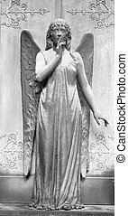 angelic figure in front of the tomb with gesture of silence
