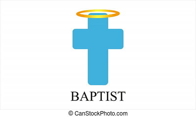 Angelic halo with cross in baptism, art video illustration.