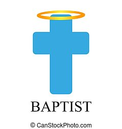 Angelic halo with cross in baptism, vector art illustration.