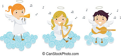 Angelic Music - Illustration of Little Angels Singing While...