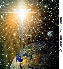 Angelic Star over Bethlehem - Digital illustration of the...