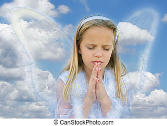 Angelic - Young angel girl praying in the clouds