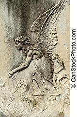 angelical, baixo-relevo