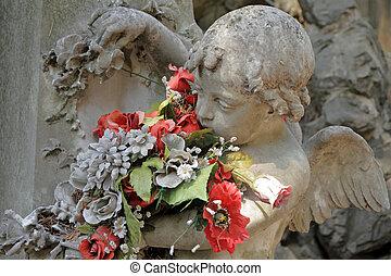angelical, escultura, com, flores