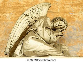 angelical, figura, ligado, monumental, histórico, cemitério, em, staglieno, genoa, em, itália, europa