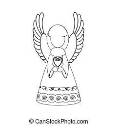 angelo, coloritura, natale, illustrazione, pagina
