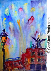 angelo, immagine, sant, castel, dipinto, astratto, watercolor., roma