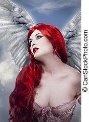 angelo, lungo, donna, capelli, ali, rosso, bello, sexy