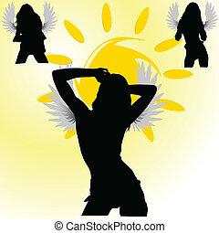 angelo, ragazze, su, il, sole, vettore, illustrazione