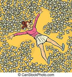 angelo, soldi, dollari, giovane, neve, lotto, ragazza, marche