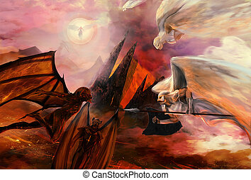 Angels and demons battle in the skies.