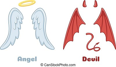 Angels and demons wings. Cartoon evil demon horns and good angel wing with nimbus. Devil and saint angel vector illustration