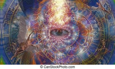 Angels and eye in endless dimensions. Astronomical clock