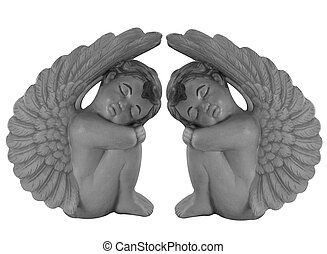 Angels Black and white - Cupid angel statues isolated on...