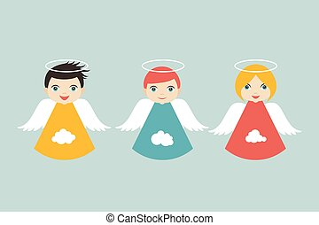 Angels cartoon illustration in flat style. Vector.