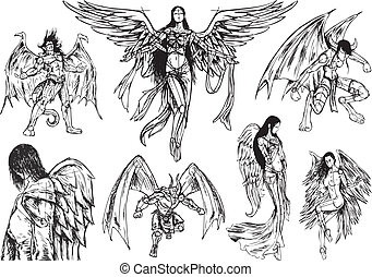 set of 7 Angels and Demons, sketch hand drawn. To remove/change the fill color, just open the group of the angel or demon (in Illustrator), select the %u201Ccolor%u201D path and change its color.