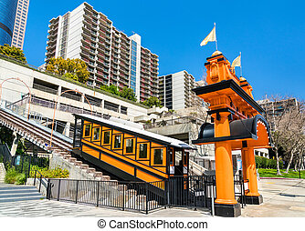 Angels Flight, a funicular railway in Downtown Los Angeles, California