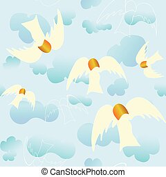 Angels floating in a blue sky with vaporous clouds. (no outlines) Original repeat pattern.