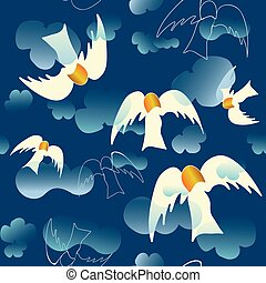 Angels floating in a night sky with vaporous clouds. Original repeat pattern.
