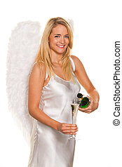 Angels for Christmas with champagne