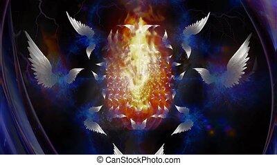 Angels of fire. Spiritual art