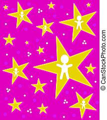 Angels on Stars on Pink