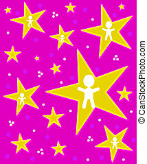 Angels on Stars on Pink