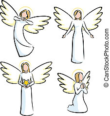 Set of 4 stylized angels. No transparency and gradients used.