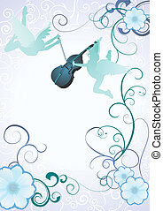 angels silhouettes with violin on blue background with flower frame vector