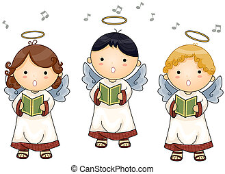 Angels singing with Clipping Path