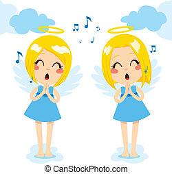 Angels Singing Happy - Two cute little blonde angels singing...