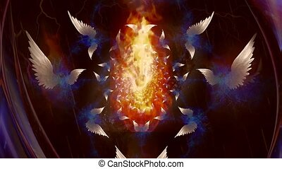 Angels wings fractal Animation with fire