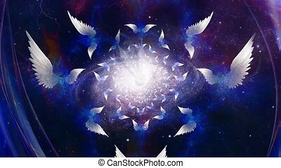 Angels Wings in space. Spinning Galaxy