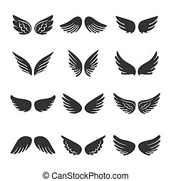 Angels wings silhouettes set