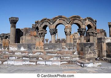 angels), zvartnots, (celestial, ruínas, templo