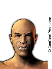 Anger - A male face that is looking very angry.