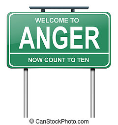 Anger concept. - Illustration depicting a green roadsign...