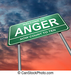 Anger concept. - Illustration depicting an illuminated green...