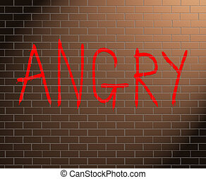 Anger concept. - Illustration depicting graffiti on a brick...