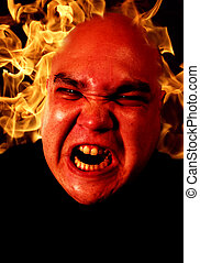 Anger management - Image of fire and a demonic man. Two...