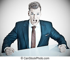 Anger management - young businessman expressing negativity