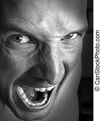 anger - very angry mens face close up shoot