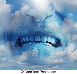 Anger rage emotion concept as a psychological symbol of mental health care suffering ang managing emotional stress as a human face in the sky with an intense expression of anxiety caused by depression or other factors.