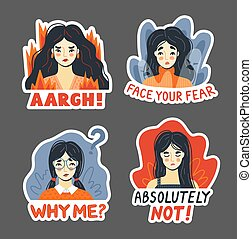 Anger, rage fear, irritation, rejection concept. Set of ...