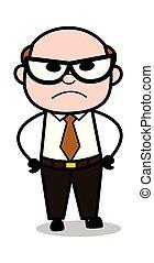 Anger - Retro Cartoon Office old Boss Man Vector Illustration